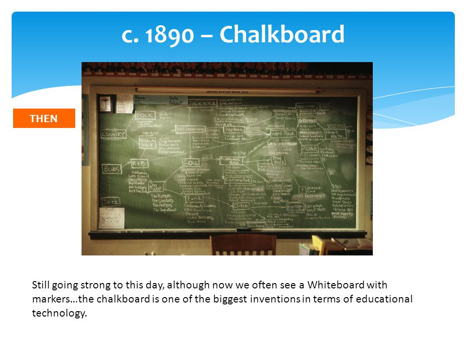 c. 1890 – Chalkboard Still going strong to this day, although now we often see a Whiteboard with markers…the chalkboard is one of the biggest inventio