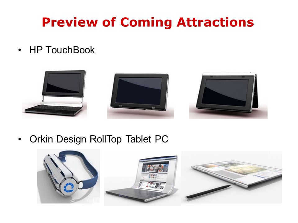 Preview of Coming Attractions HP TouchBook Orkin Design RollTop Tablet PC