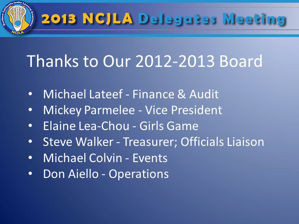 Thanks to Our 2012-2013 Board Michael Lateef - Finance & Audit Mickey Parmelee - Vice President Elaine Lea-Chou - Girls Game Steve Walker - Treasurer;