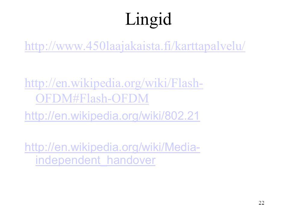 22 Lingid http://www.450laajakaista.fi/karttapalvelu/ http://en.wikipedia.org/wiki/Flash- OFDM#Flash-OFDM http://en.wikipedia.org/wiki/802.21 http://en.wikipedia.org/wiki/Media- independent_handover