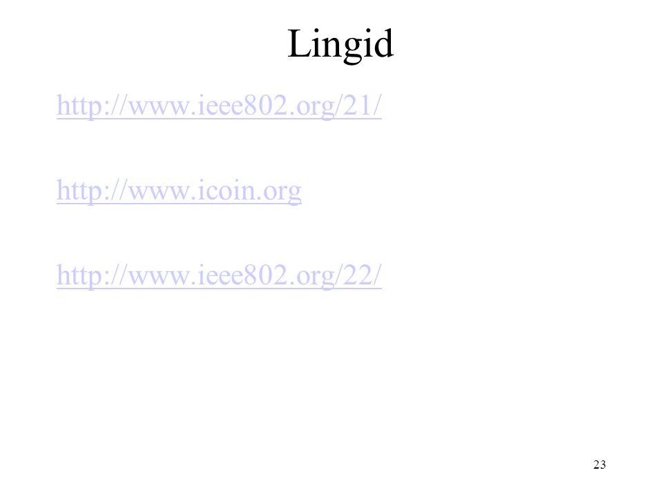 23 Lingid http://www.ieee802.org/21/ http://www.icoin.org http://www.ieee802.org/22/