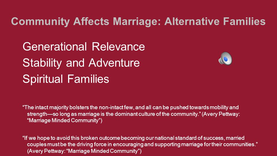 "Community Affects Marriage: Alternative Families Generational Relevance Stability and Adventure Spiritual Families ""The intact majority bolsters the n"