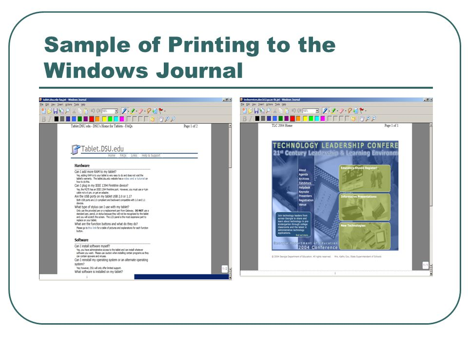 Sample of Printing to the Windows Journal