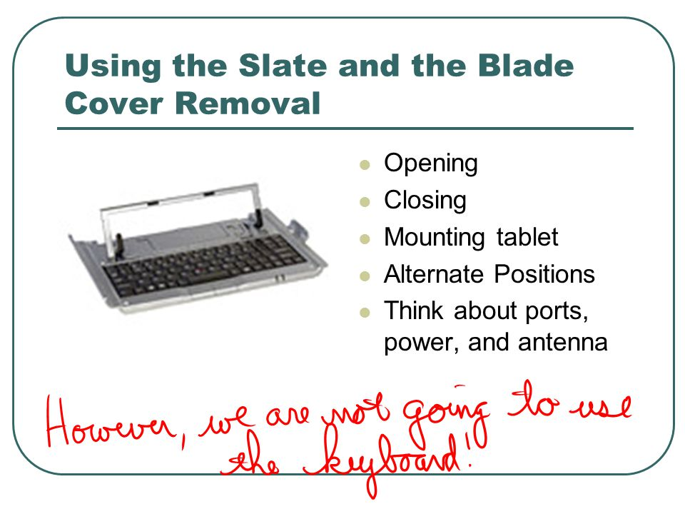 Using the Slate and the Blade Cover Removal Opening Closing Mounting tablet Alternate Positions Think about ports, power, and antenna