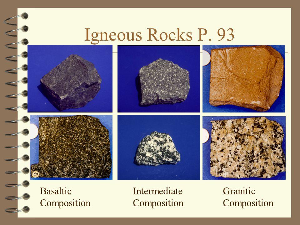 Igneous Rocks P. 93 Basaltic Composition Intermediate Composition Granitic Composition