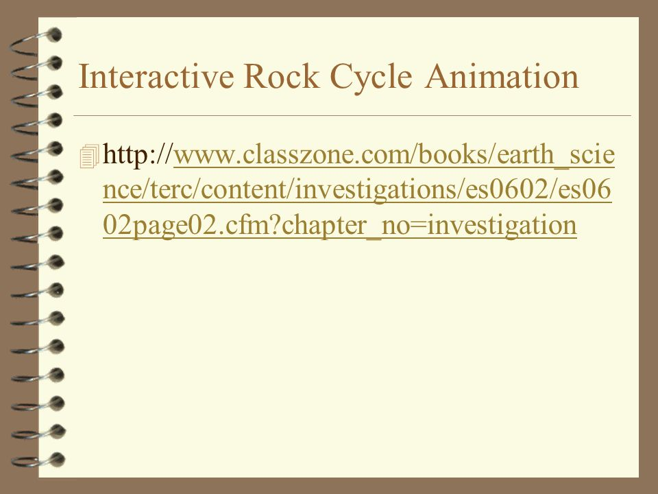 Interactive Rock Cycle Animation 4 http://www.classzone.com/books/earth_scie nce/terc/content/investigations/es0602/es06 02page02.cfm?chapter_no=inves