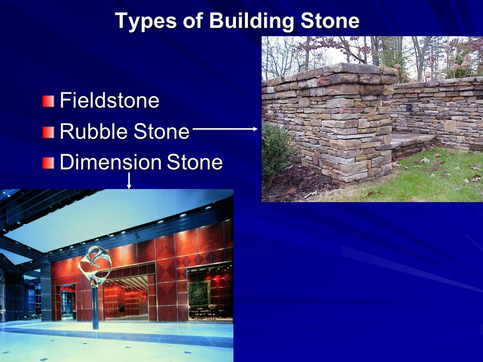 Types of Building Stone Fieldstone Rubble Stone Dimension Stone