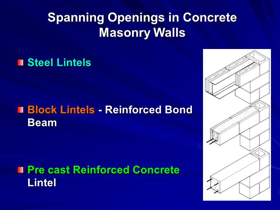 Spanning Openings in Concrete Masonry Walls Steel Lintels Block Lintels - Reinforced Bond Beam Pre cast Reinforced Concrete Lintel