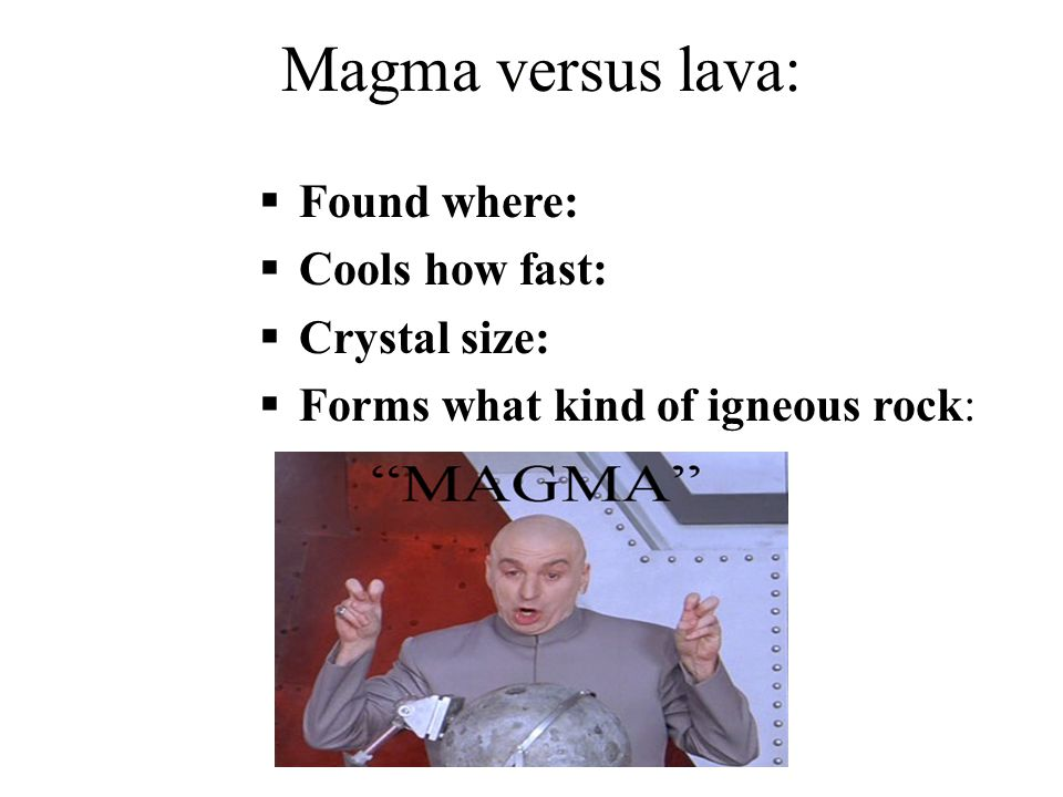 ` Magma versus lava:  Found where:  Cools how fast:  Crystal size:  Forms what kind of igneous rock:  Found where:  Cools how fast:  Crystal si