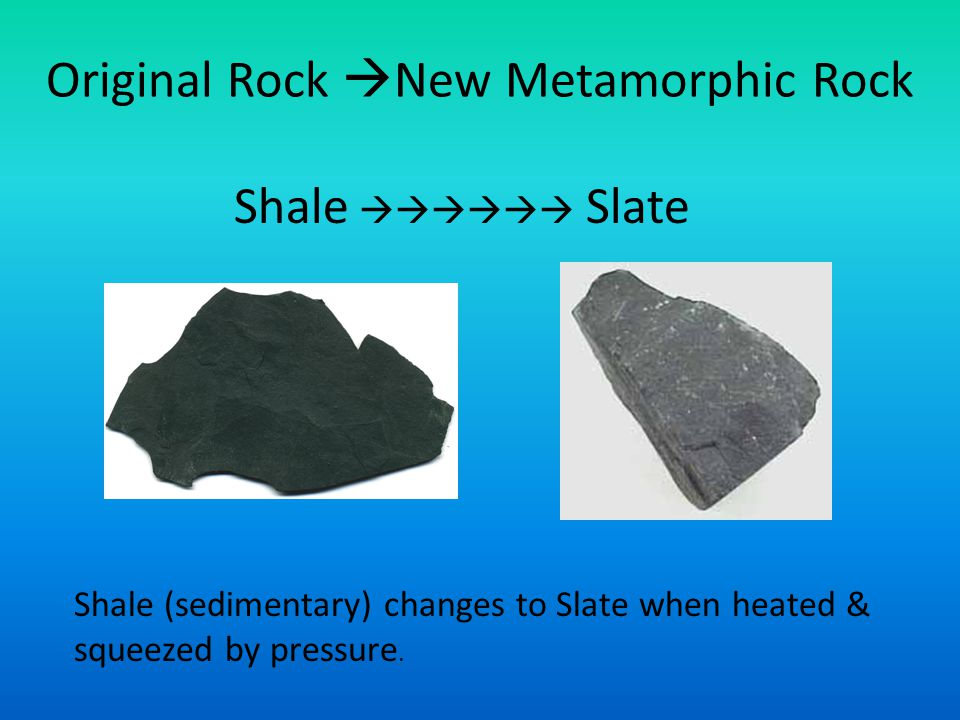 Original Rock  New Metamorphic Rock Shale  Slate Shale (sedimentary) changes to Slate when heated & squeezed by pressure.