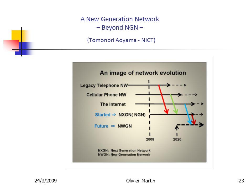 24/3/2009Olivier Martin23 A New Generation Network – Beyond NGN – (Tomonori Aoyama - NICT)