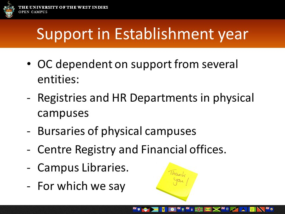 THE UNIVERSITY OF THE WEST INDIES OPEN CAMPUS Support in Establishment year OC dependent on support from several entities: -Registries and HR Departments in physical campuses -Bursaries of physical campuses -Centre Registry and Financial offices.
