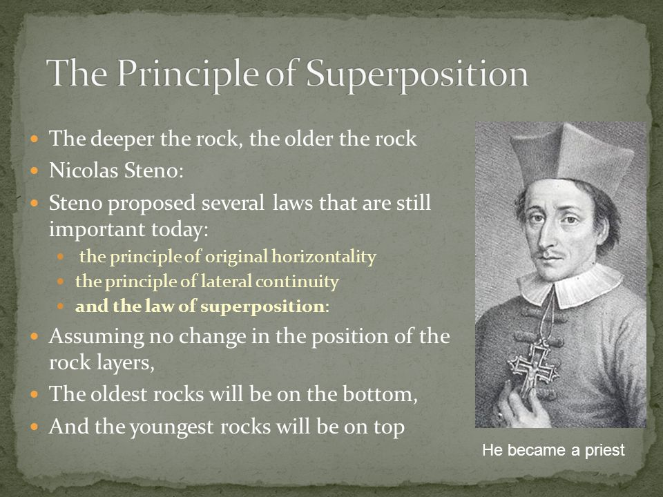 The deeper the rock, the older the rock Nicolas Steno: Steno proposed several laws that are still important today: the principle of original horizontality the principle of lateral continuity and the law of superposition: Assuming no change in the position of the rock layers, The oldest rocks will be on the bottom, And the youngest rocks will be on top He became a priest