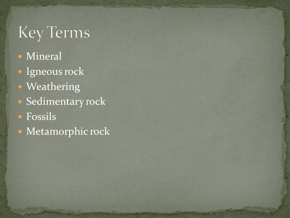 Mineral Igneous rock Weathering Sedimentary rock Fossils Metamorphic rock