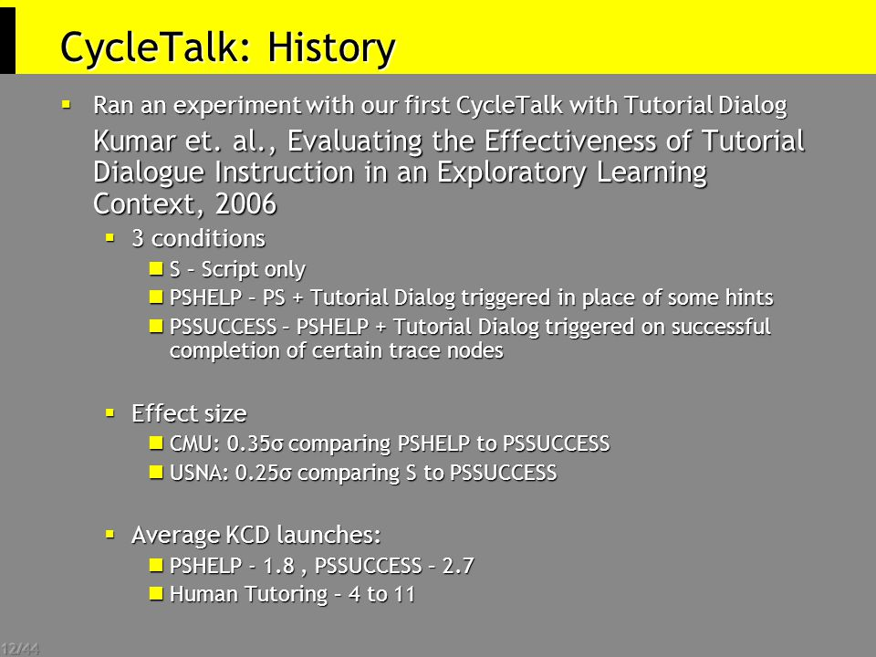 12/44 CycleTalk: History  Ran an experiment with our first CycleTalk with Tutorial Dialog Kumar et.