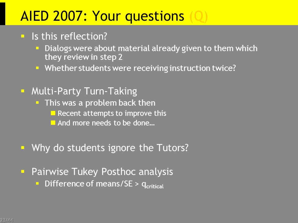 23/44 AIED 2007: Your questions (Q)   Is this reflection.
