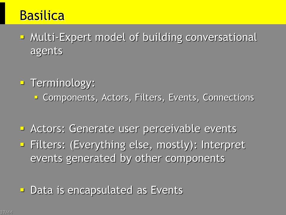 37/44 Basilica  Multi-Expert model of building conversational agents  Terminology:  Components, Actors, Filters, Events, Connections  Actors: Gene