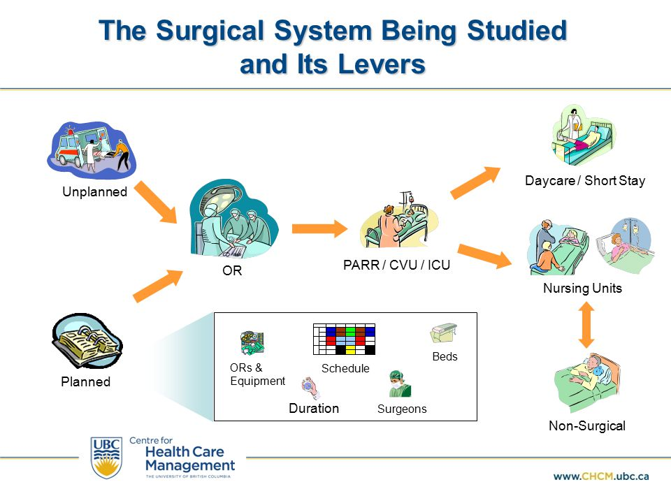 The Surgical System Being Studied and Its Levers Unplanned Planned OR PARR / CVU / ICU Nursing Units Daycare / Short Stay Non-Surgical Duration ORs & Equipment Surgeons Beds Schedule