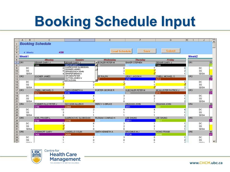 Booking Schedule Input