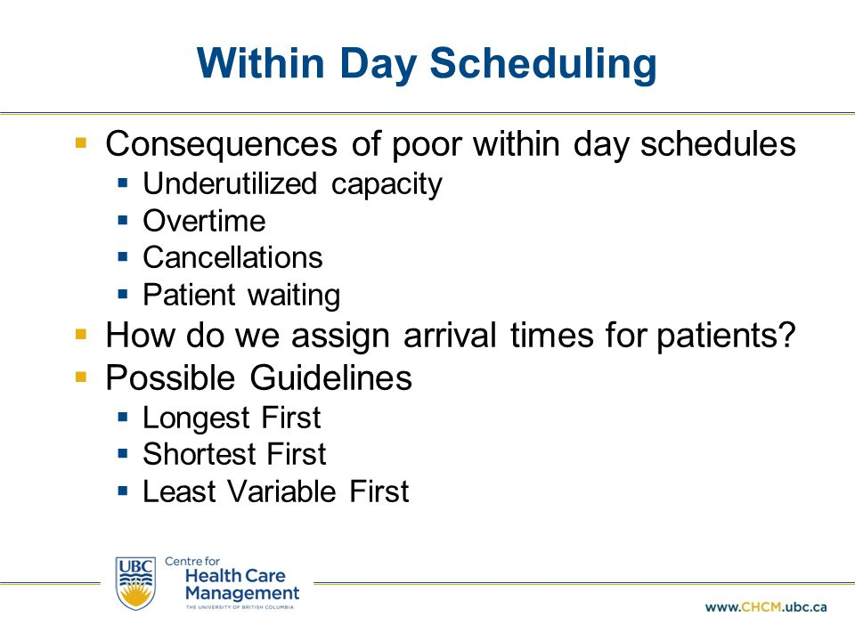 Within Day Scheduling  Consequences of poor within day schedules  Underutilized capacity  Overtime  Cancellations  Patient waiting  How do we assign arrival times for patients.