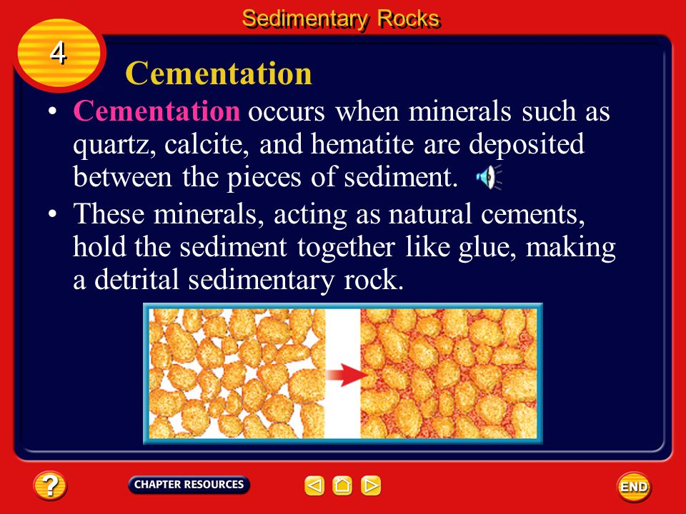 Cementation If sediments are large, like sand and pebbles, pressure alone can't make then stick together. Sedimentary Rocks 4 4 Large sediments have t