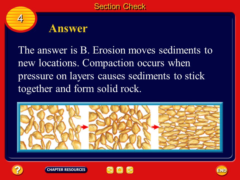 Section Check 4 4 Question 3 What is the process in which small sediments stick together and form solid rocks? A. cementation B. compaction C. cycling