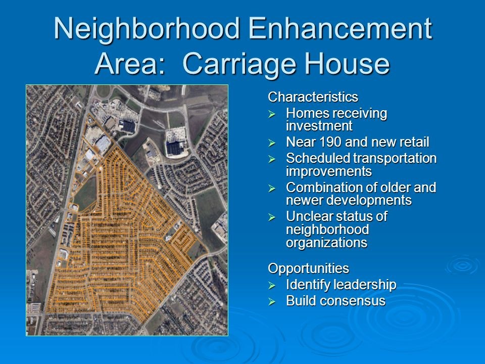 Neighborhood Enhancement Area: Carriage House Characteristics  Homes receiving investment  Near 190 and new retail  Scheduled transportation improvements  Combination of older and newer developments  Unclear status of neighborhood organizations Opportunities  Identify leadership  Build consensus