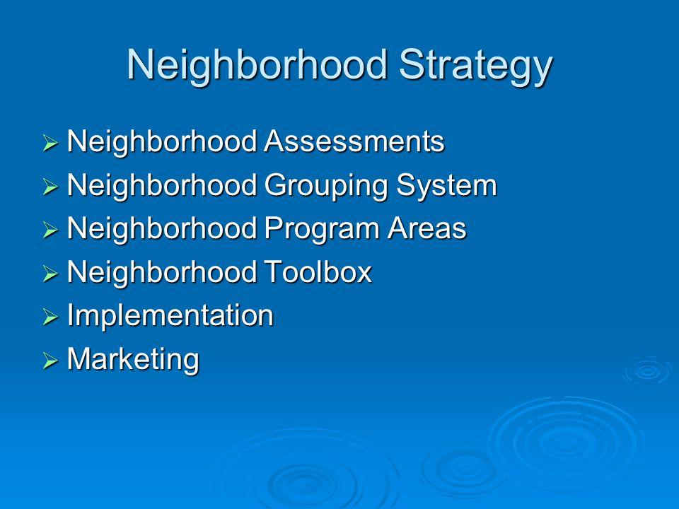Neighborhood Strategy  Neighborhood Assessments  Neighborhood Grouping System  Neighborhood Program Areas  Neighborhood Toolbox  Implementation 