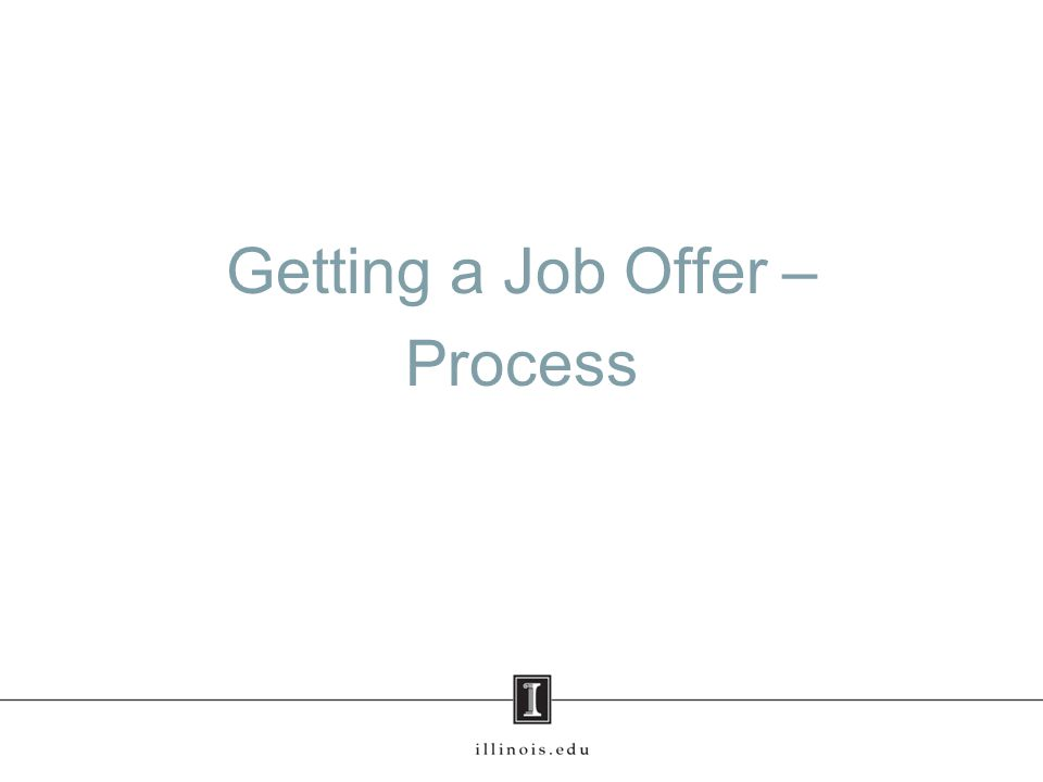 Getting a Job Offer – Process