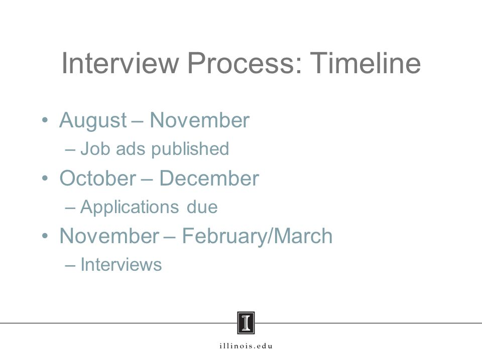 Types of Interviews First round –Phone/Skype interviews –Conference (MLA / LSA) interviews Second round – finalists –Campus interviews