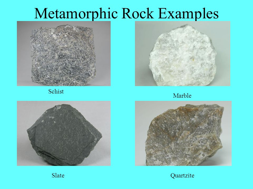 Metamorphic Rock Examples Schist Slate Marble Quartzite