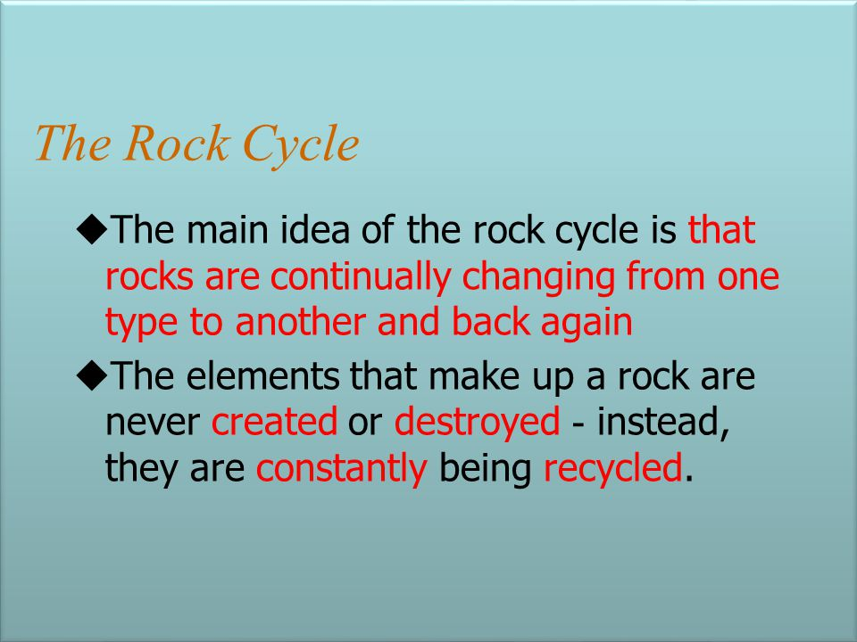 Rock Classification Composition – the type of minerals a rock contains (ex: Limestone is 95% Calcite and 5% Aragonite) Texture – the size, shape and a