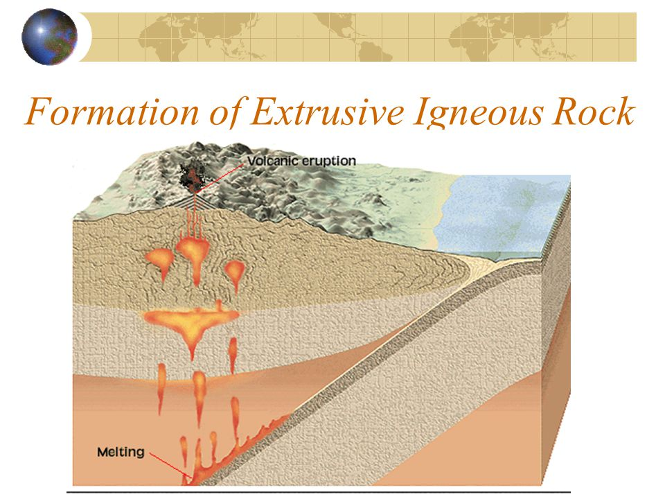 Igneous Rocks Extrusive rocks- formed by cooling lava Texture Can Be: glassy porous fine-grained Intrusive rocks- formed by cooling magma Texture Is A