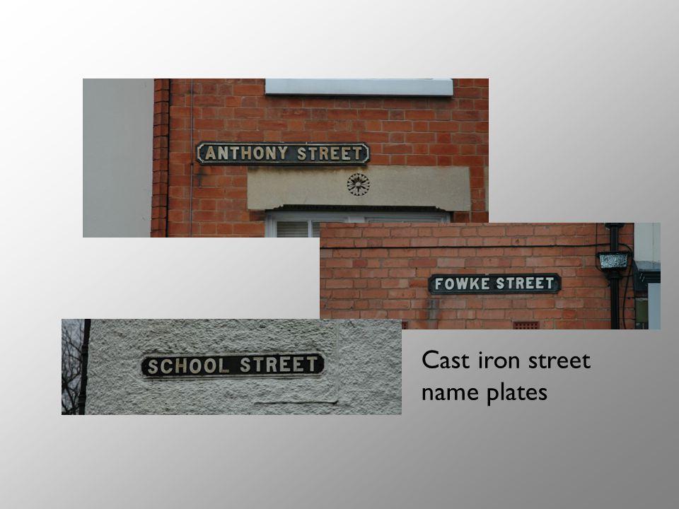 Cast iron street name plates