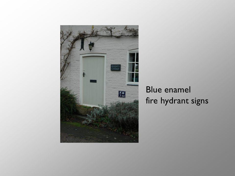 Blue enamel fire hydrant signs