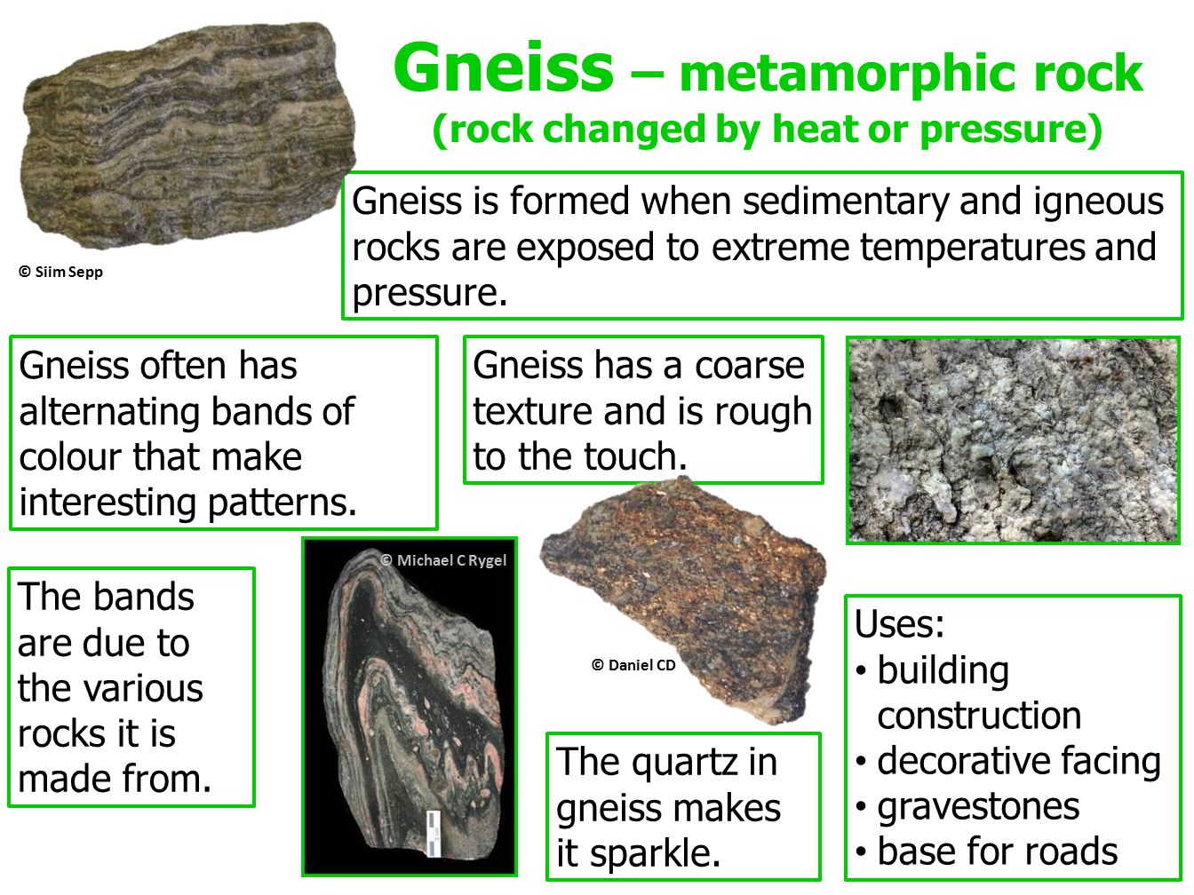 Gneiss – metamorphic rock (rock changed by heat or pressure) Gneiss is formed when sedimentary and igneous rocks are exposed to extreme temperatures and pressure.