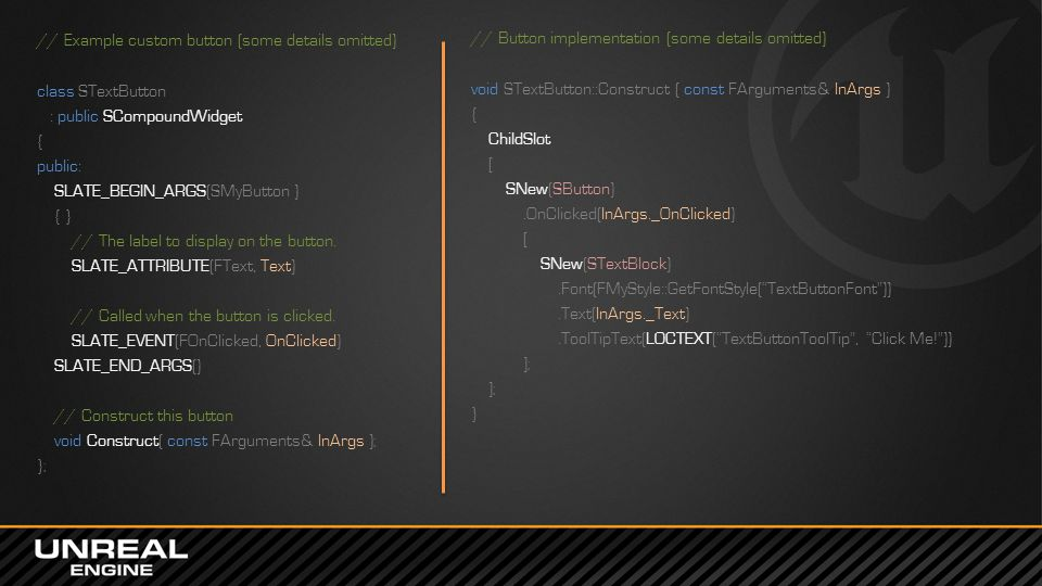 In-Game UI HUD Canvas VP Widgets Game Menus FCanvas Low-level C++ API for drawing directly to the screen Has been part of Unreal Engine for many years All functions are in FCanvas class DrawText(), DrawTexture(), DrawTile(), etc.
