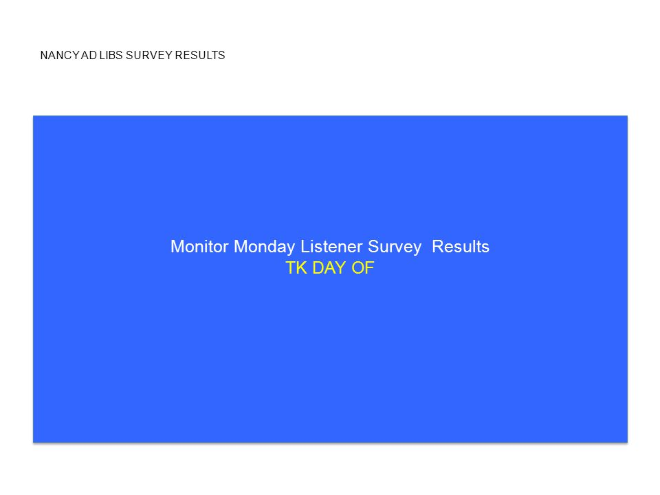 NANCY AD LIBS SURVEY RESULTS Monitor Monday Listener Survey Results TK DAY OF