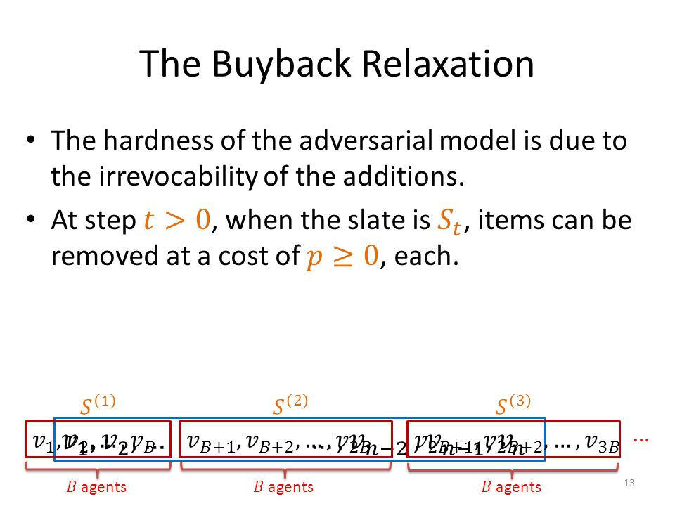 The Buyback Relaxation 13 …