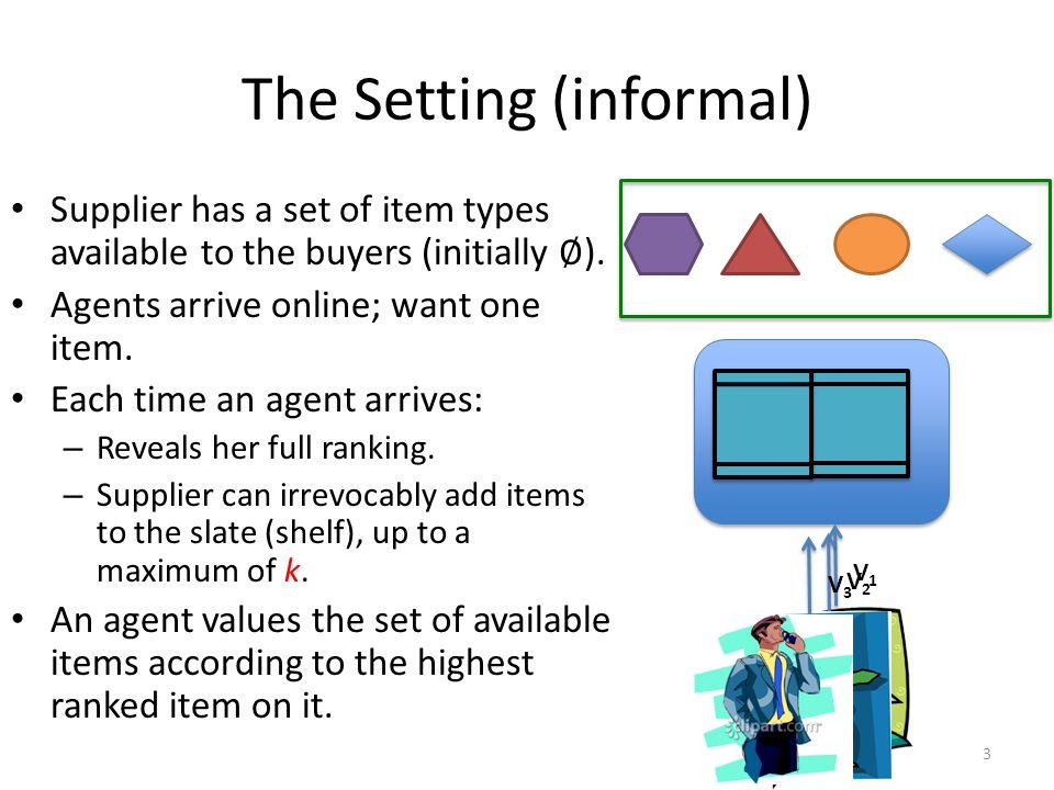 The Setting (informal) V1V1 V2V2 V3V3 3