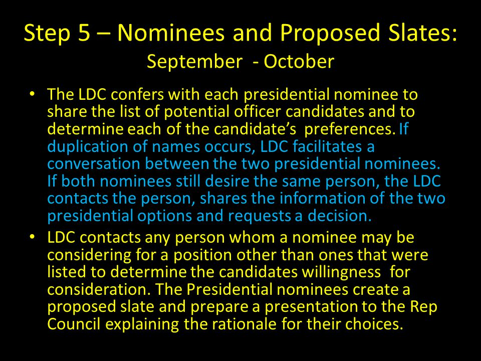Step 5 – Nominees and Proposed Slates: September - October The LDC confers with each presidential nominee to share the list of potential officer candidates and to determine each of the candidate's preferences.