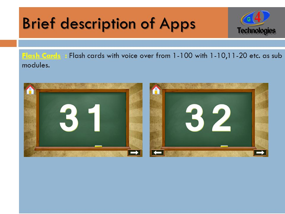 Brief description of Apps Flash Cards : Flash cards with voice over from 1-100 with 1-10,11-20 etc.