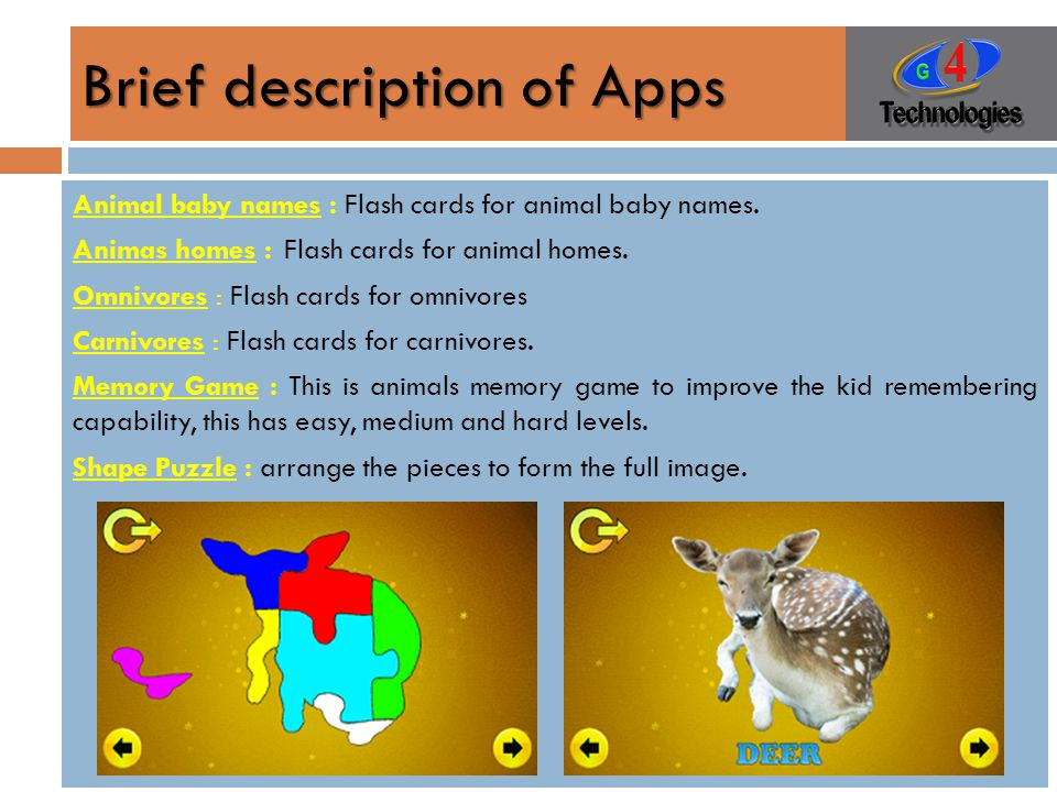 Brief description of Apps Animal baby names : Flash cards for animal baby names.