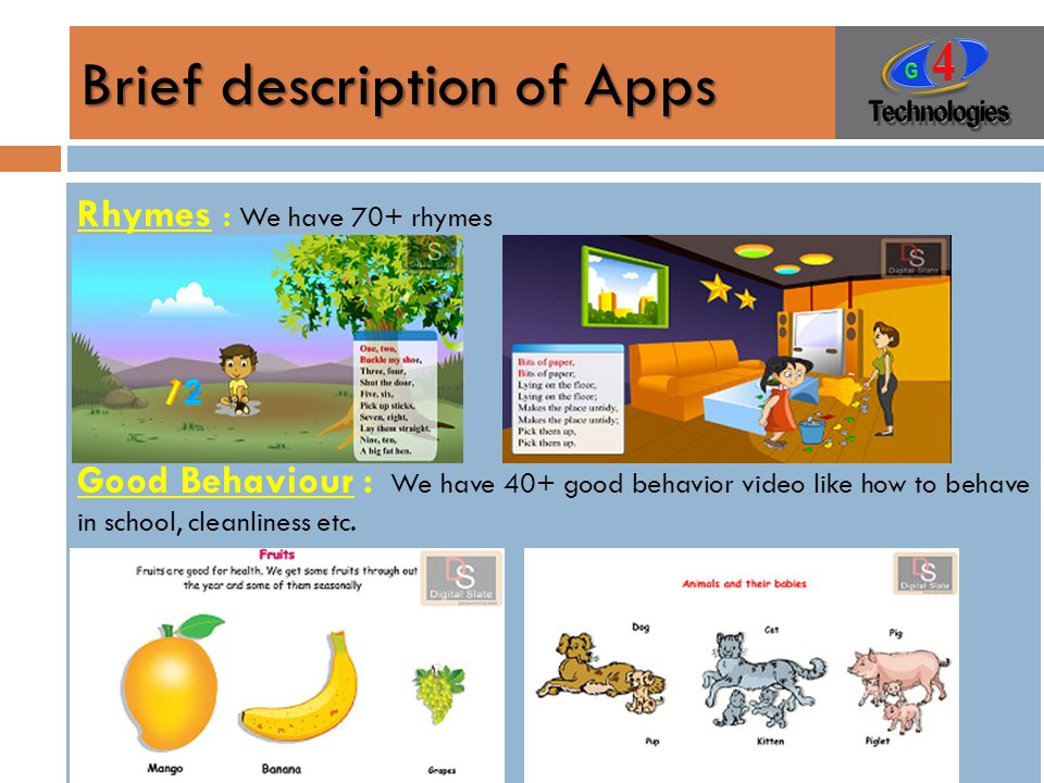 Brief description of Apps Rhymes : We have 70+ rhymes Good Behaviour : We have 40+ good behavior video like how to behave in school, cleanliness etc.