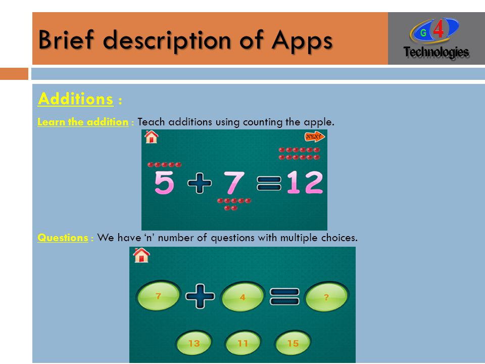 Brief description of Apps Additions : Learn the addition : Teach additions using counting the apple.