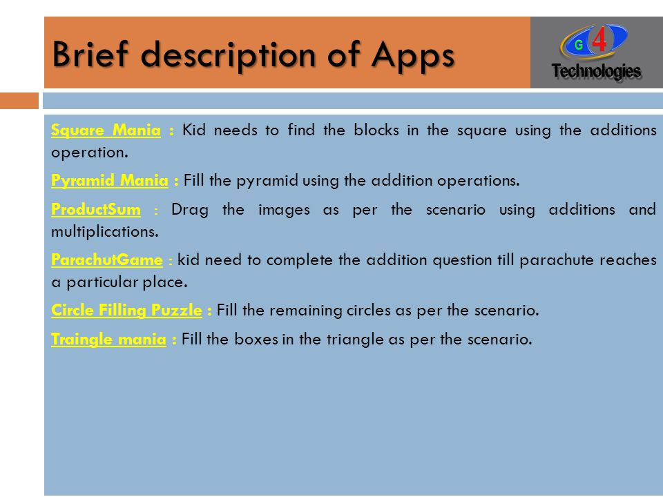 Brief description of Apps Square Mania : Kid needs to find the blocks in the square using the additions operation.