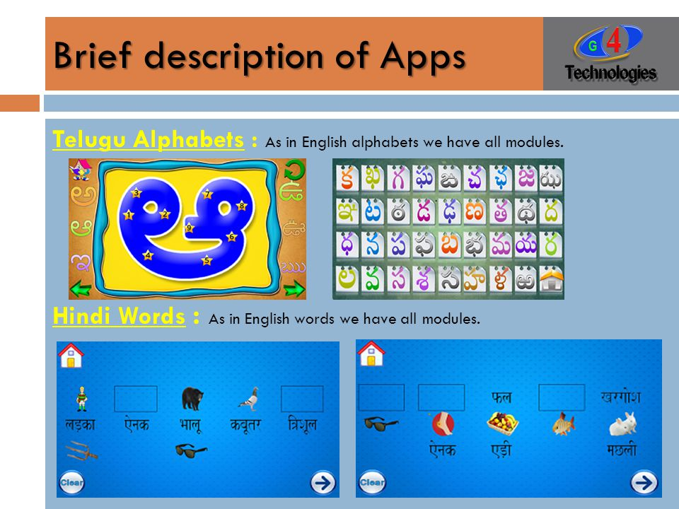Brief description of Apps Telugu Alphabets : As in English alphabets we have all modules.