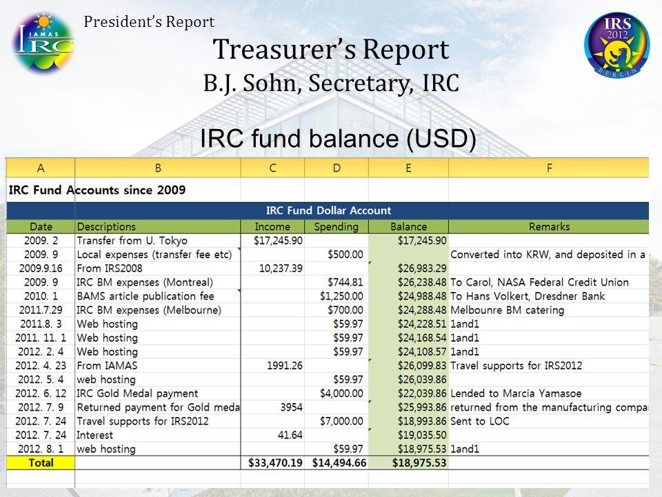 Treasurer's Report B.J. Sohn, Secretary, IRC President's Report IRC fund balance (KRW)