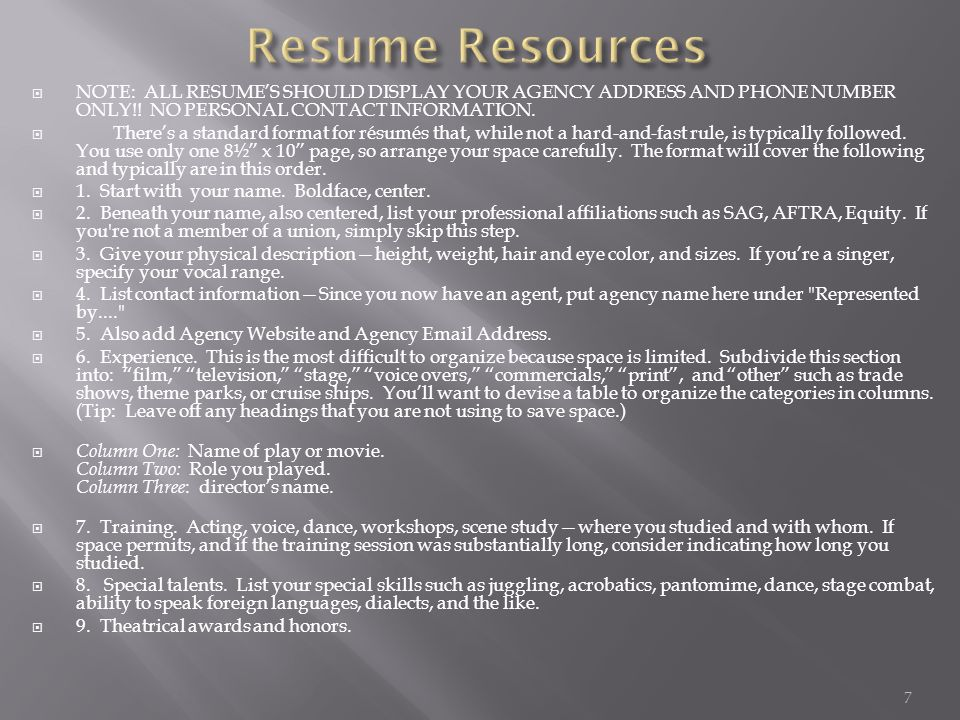 NOTE: ALL RESUME'S SHOULD DISPLAY YOUR AGENCY ADDRESS AND PHONE NUMBER ONLY!.