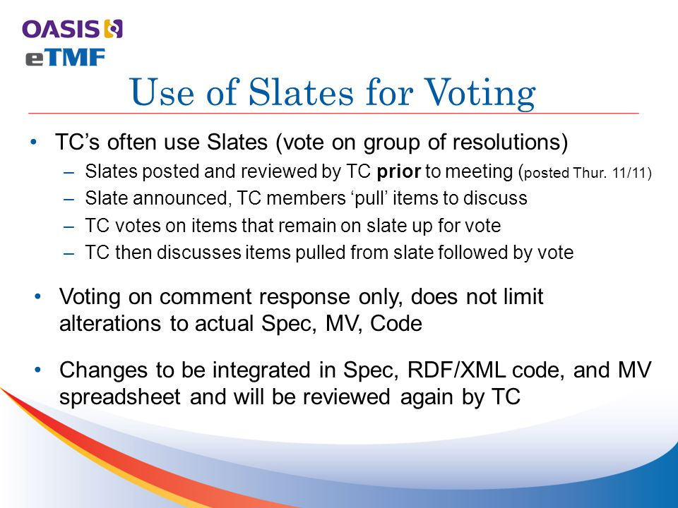TC's often use Slates (vote on group of resolutions) –Slates posted and reviewed by TC prior to meeting ( posted Thur.